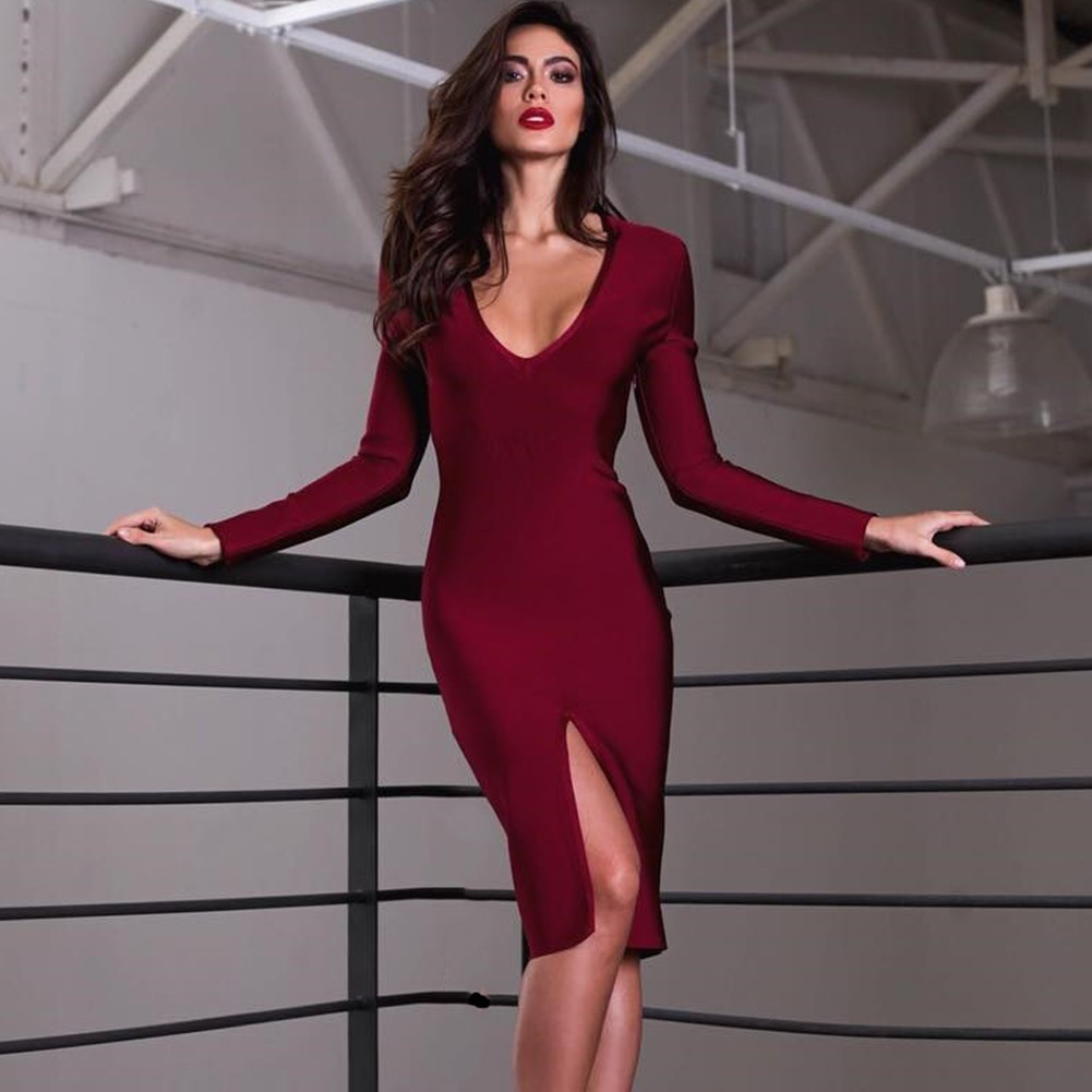Wine V Neck Long Sleeve Over Knee Plain Smoothy Heavy Bandage Dress H0058-Wine