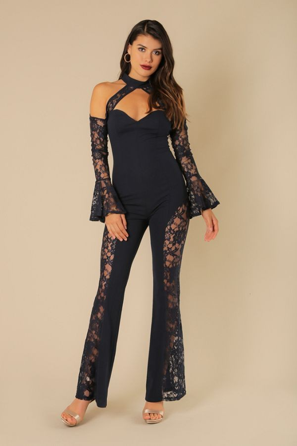 'CARINA' Bell Sleeve Halter Neck Lace Jumpsuit