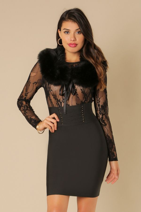 'CERYS' Lace x Bandage Fur 2-fer Dress