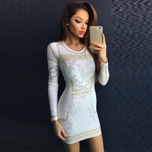White Round Neck Long Sleeve Above Knee Flower Printed New Bandage Dress HB4445-White
