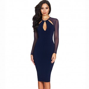 Blue Round Neck Long Sleeve Over Knee Meshed Plain Wholesale Bandage Dress HB5201-Blue
