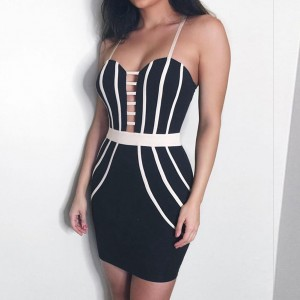 Black Strapy Sleeveless Mini Stripped Cut Out Sexy Bandage Dress HB5205-Black