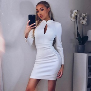 White Halter Long Sleeve Above Knee Buttoned Back Zipped Oem Bandage Dress HB5206-White