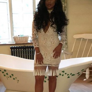 White Halter Long Sleeve Over Knee Tassel Lace Evening Bandage Dress SW020-White