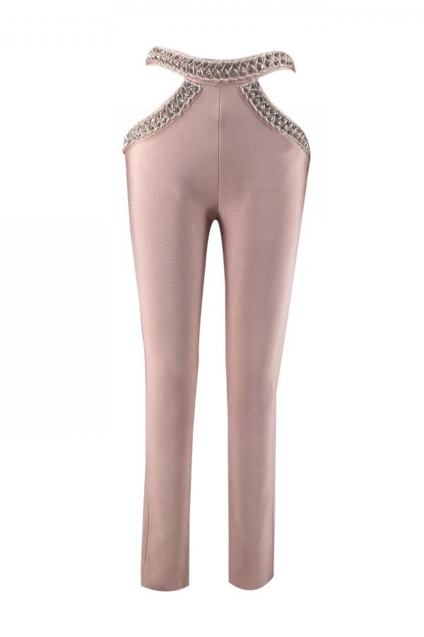 Nude Maxi Diamente Embellished High Waist Wholesale Bandage Pants H0055-Nude