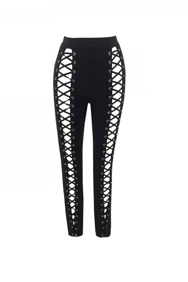 Black Maxi Lace Up Cut Out New Bandage Pants H0056-Black