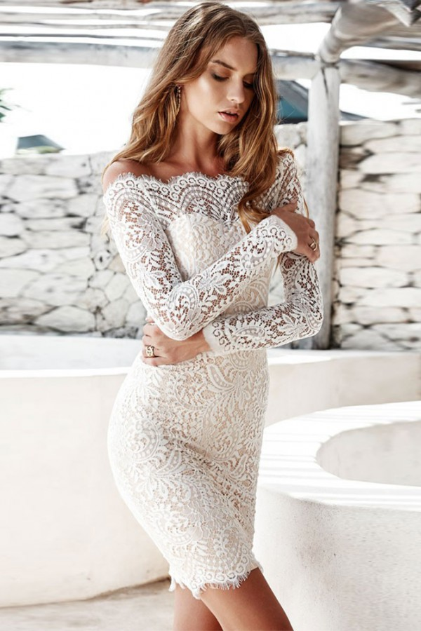 White Off Shoulder Long Sleeve Mini Lace Scollop Sexy Bodycon Dress H0061-White