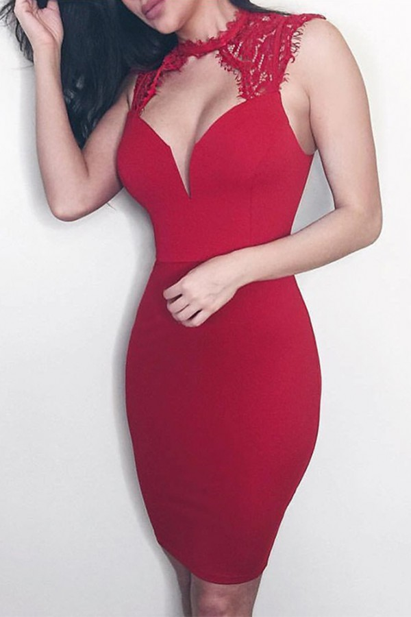 Red Halter Sleeveless Knee Length Lace Backless Party Bandage Dress HB5207-Red