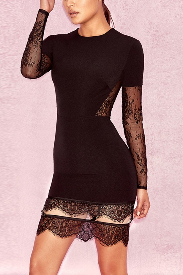 Black Round Neck Long Sleeve Above Knee Lace Mesh Hot Bodycon Dress HI902-Black