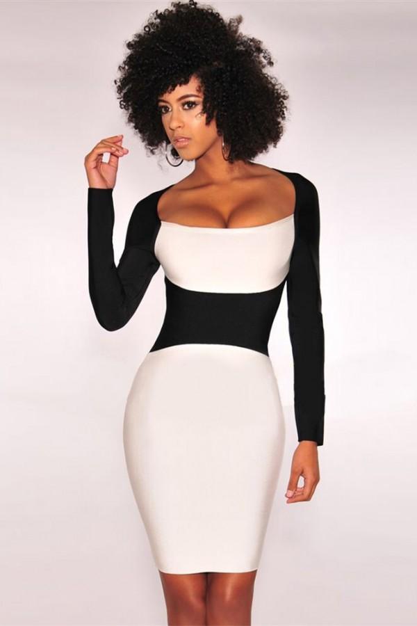 White Round Neck Long Sleeve Over Knee Color Blocked Plain Winter Bandage Dress HI903-White