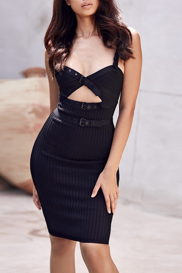 Black Strapy Sleeveless Knee Length Cut Out Weaved High Quality Bandage Dress HI904-Black