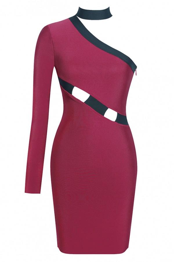 Wine One Shoulder Long Sleeve Knee Length Cut Out Plain Dropshipping Bandage Dress HI906-Wine