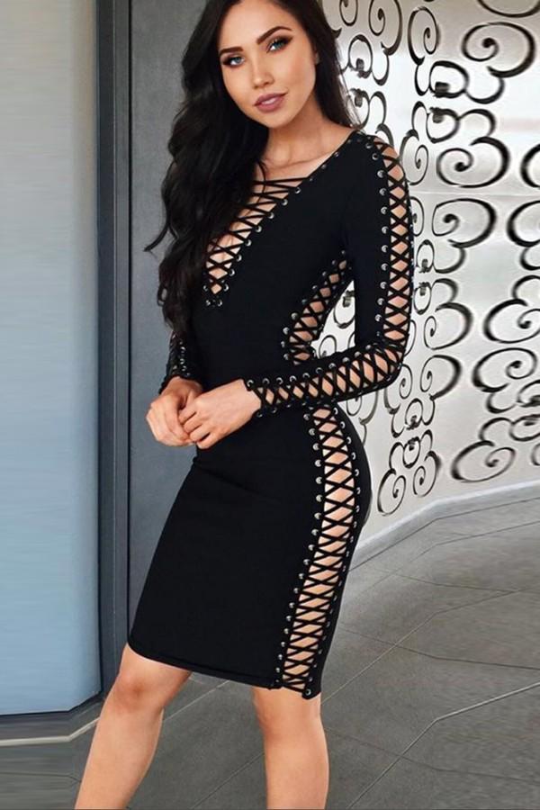 Black V Neck Long Sleeve Over Knee Lace Up Cut Out Winter Bandage Dress SW019-Black